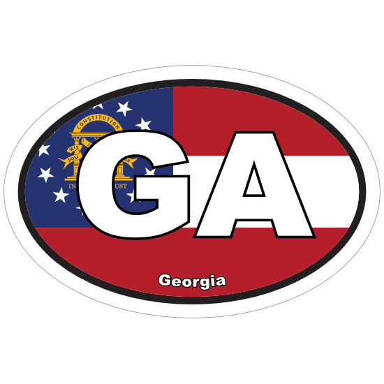 Georgia Ga State Flag Oval Sticker