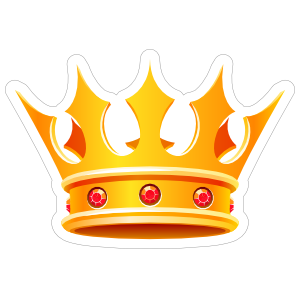 Gold Crown with Rubies Sticker