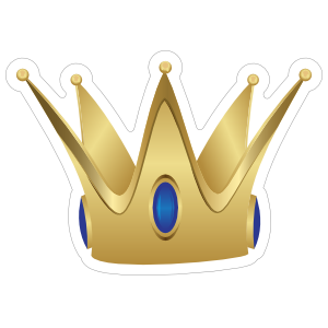 Gold Crown with Sapphires Sticker