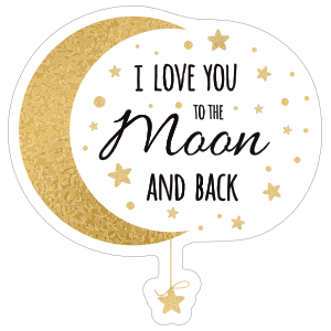 Gold I Love You to the Moon and Back Sticker