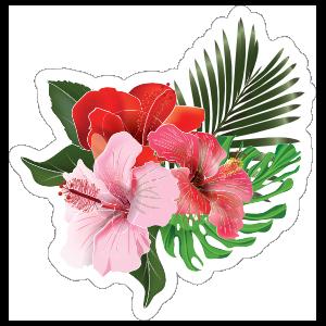 Gorgeous Hibiscus Flower Trio Sticker