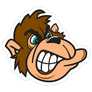 Gorilla Head Mascot Sticker