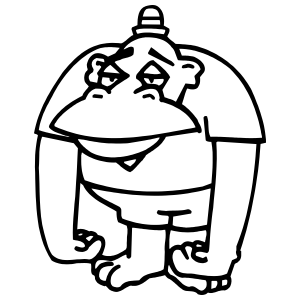 Cartoon Gorilla Or Ape Wearing A Hat Sticker