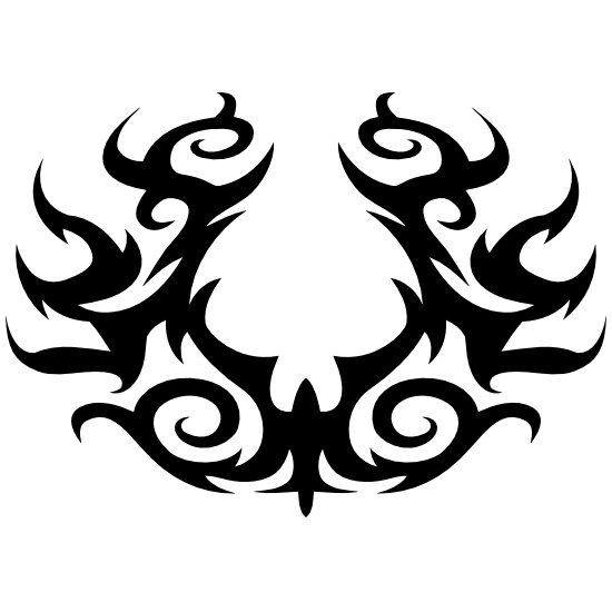 Gothic Swirls Horseshoe Shape Sticker