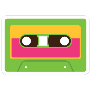 Green Cassette Tape Hippie Sticker