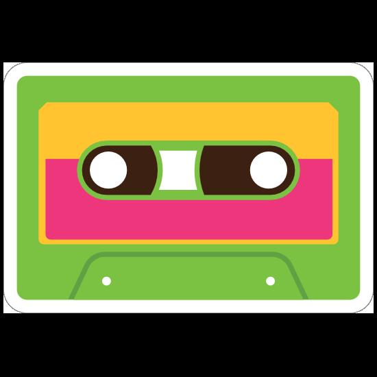Green Cassette Tape Hippie Sticker