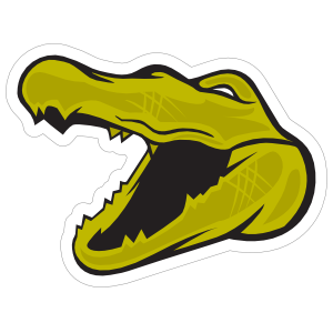 Green Gator Head Mascot Sticker