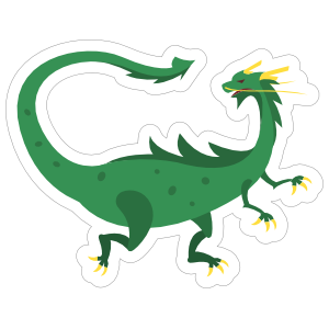 Green Spotted Drake Dragon Sticker