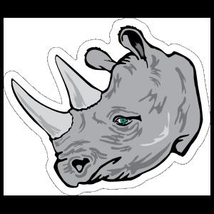 Grey Rhino Mascot Sticker