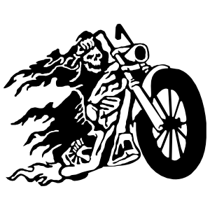 Grim Reaper On Flaming Motorcycle Bike Sticker