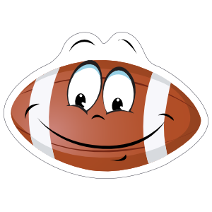 Grinning Cartoon Football Sticker