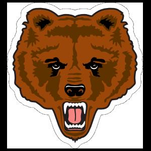 Growling Bear Mascot Sticker