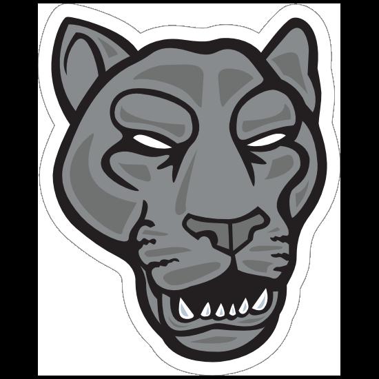 Growling Panther Head Mascot Sticker