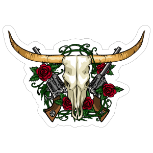 Guns And Roses Bull Cow Skull Sticker