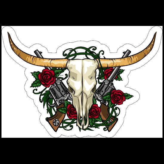 Guns And Roses Bull Cow Skull Sticker