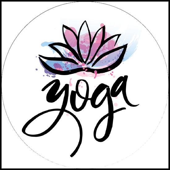 Hand Drawn Yoga Lotus Circle Sticker