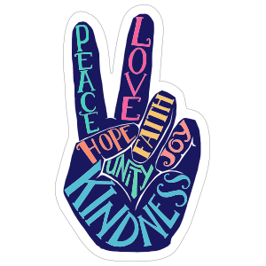 Hand Peace Sign and Words Hippie Sticker