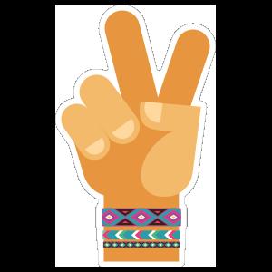 Hand Peace Sign Hippie Sticker