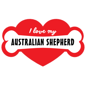 Handwritten I Love My Australian Shepherd with Bone and Heart Sticker