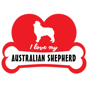 Handwritten I Love My Australian Shepherd with Dog Bone and Heart Sticker