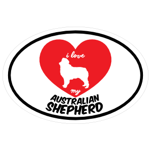 Handwritten I Love My Australian Shepherd with Heart Oval Sticker