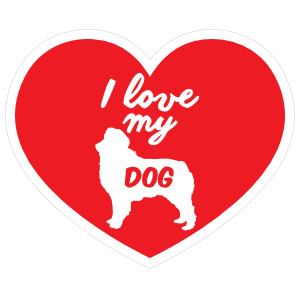 Handwritten I Love My Australian Shepherd Heart Sticker