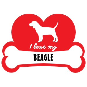 Handwritten I Love My Beagle with Dog Bone and Heart Magnet