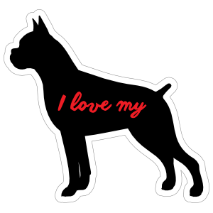 Handwritten I Love My Boxer Silhouette  Sticker