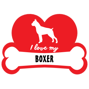 Handwritten I Love My Boxer With Dog Bone And Heart Magnet