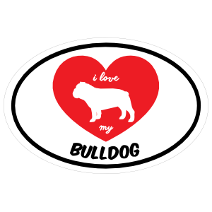 Handwritten I Love My Bulldog with Heart Oval Magnet