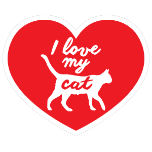 Handwritten I Love My Cat Heart Sticker