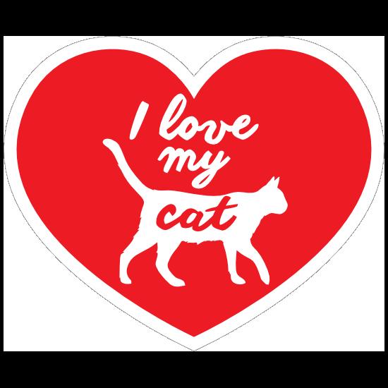 Handwritten I Love My Cat Heart Magnet