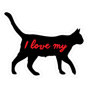 Handwritten I Love My Cat Silhouette  Sticker