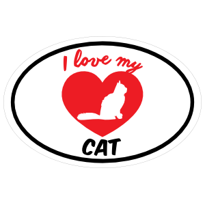 Handwritten I Love My Cat with Bushy Tail and Heart Oval Sticker