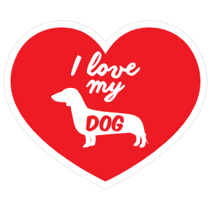 Handwritten I Love My Dachshund Heart Sticker