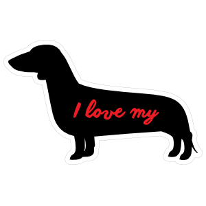 Handwritten I Love My Dachshund Silhouette  Sticker