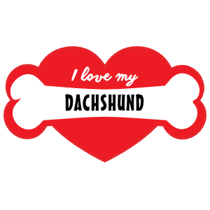Handwritten I Love My Dachshund with Bone and Heart Sticker