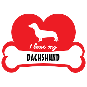 Handwritten I Love My Dachshund with Dog Bone and Heart Sticker