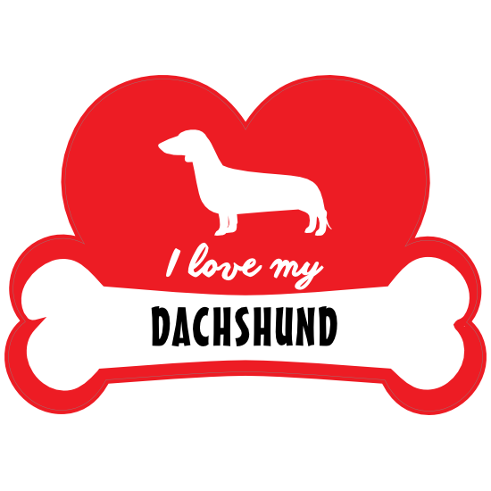 Handwritten I Love My Dachshund With Dog Bone And Heart Magnet