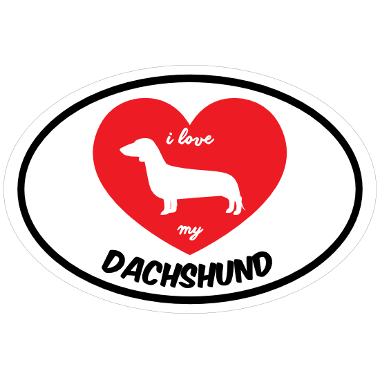 Handwritten I Love My Dachshund With Heart Oval Magnet