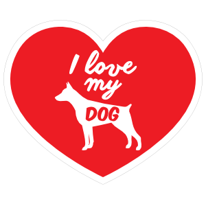 Handwritten I Love My Doberman Pinscher Heart Sticker