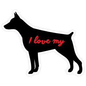 Handwritten I Love My Doberman Pinscher Silhouette  Sticker