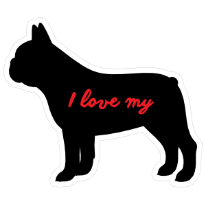 Handwritten I Love My French Bulldog Silhouette  Magnet