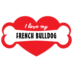 Handwritten I Love My French Bulldog with Bone and Heart Magnet
