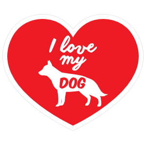 Handwritten I Love My German Shepherd Heart Sticker
