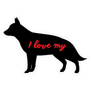 Handwritten I Love My German Shepherd Silhouette  Magnet