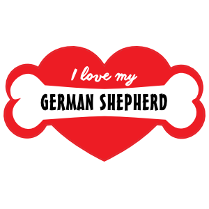 Handwritten I Love My German Shepherd With Bone And Heart Magne