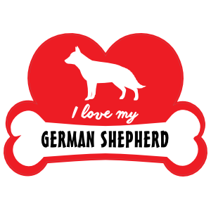 Handwritten I Love My German Shepherd with Dog Bone and Heart Sticker