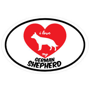 Handwritten I Love My German Shepherd with Heart Oval Magnet
