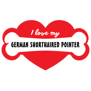 Handwritten I Love My German Shorthaired Pointer with Bone and Heart Sticker